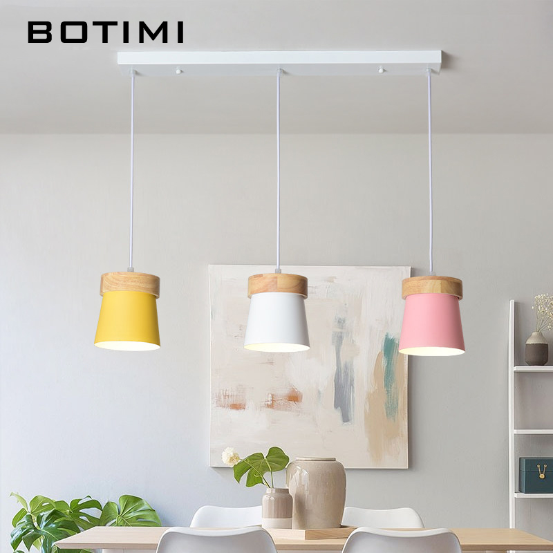 BOTIMI Nordic LED Pendant Lights For Dining Modern Metal Hanging Lamp Wooden Pendant Lamps Triple Bar Light Kicthen Lighting