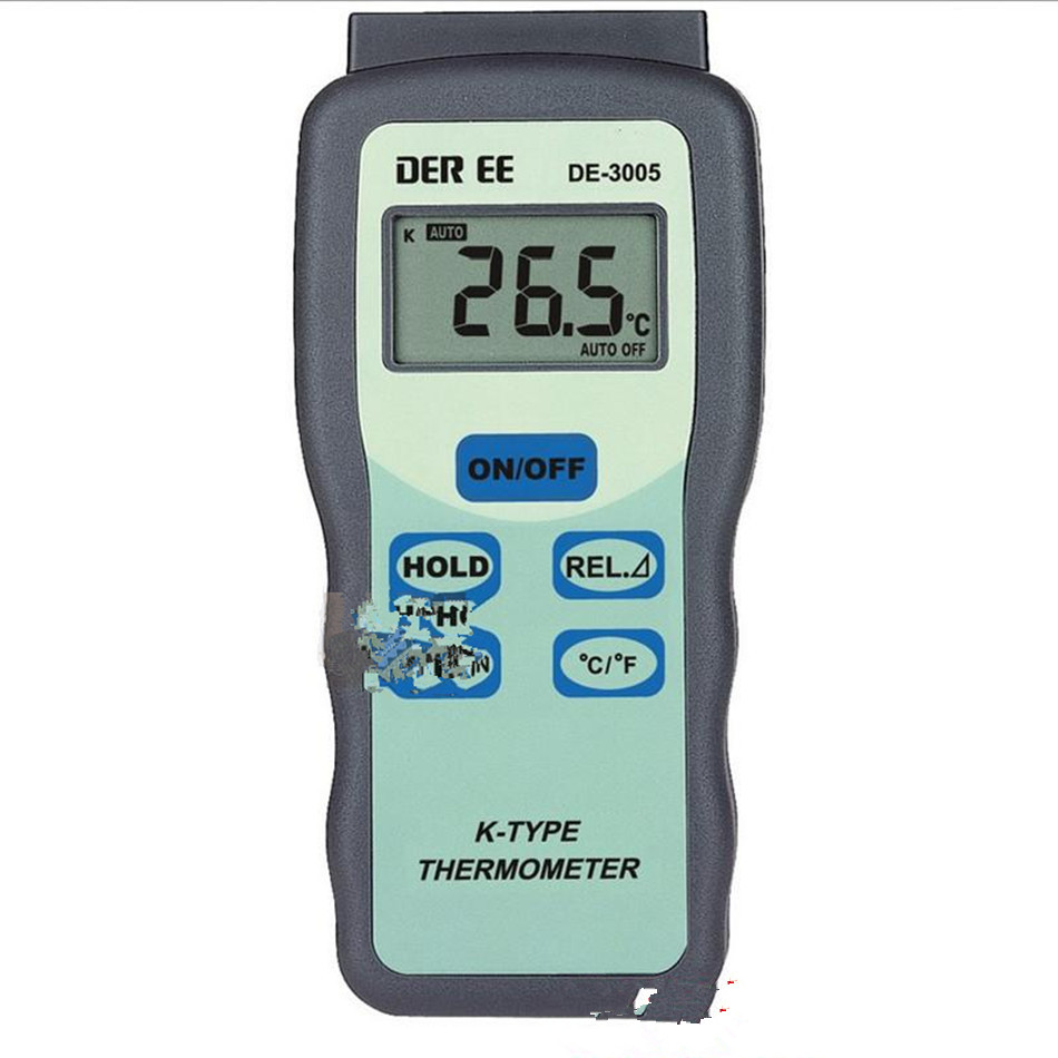 DE-3005 K-type Thermocouple Digital Thermometer Optional Temperature Probe Industrial 3-1 / 2 Liquid Crystal Display k0387 k type thermocouple probe temperature measuring cable white yellow 2 77m