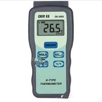 DE 3005 K type Thermocouple Digital Thermometer Optional Temperature Probe Industrial 3 1 / 2 Liquid Crystal Display