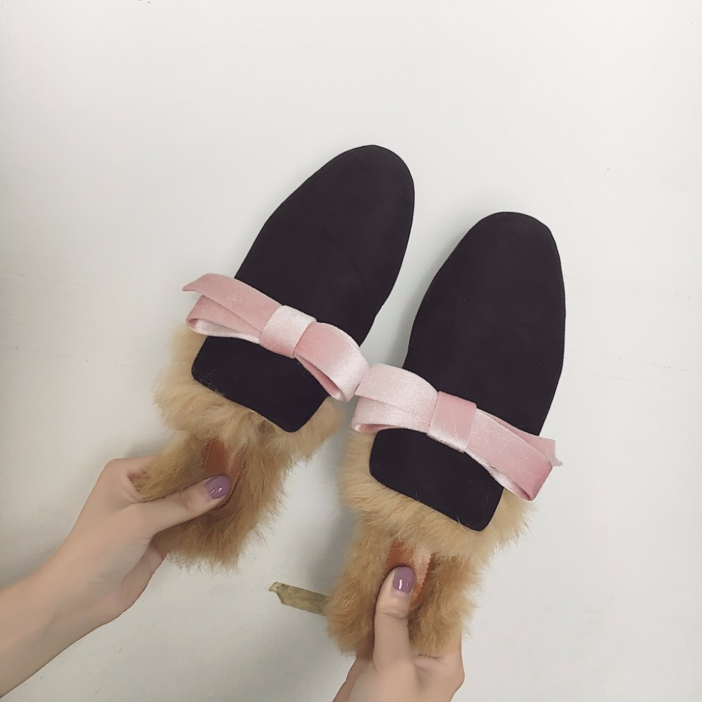 1a0f5007377 HIZCINTH 2017 Winter Slippers Women Sweet Bowknot Real Rabbit Fur Flats  Slippers Half Shoes Woman Casual Flip Flops Casual Shoes