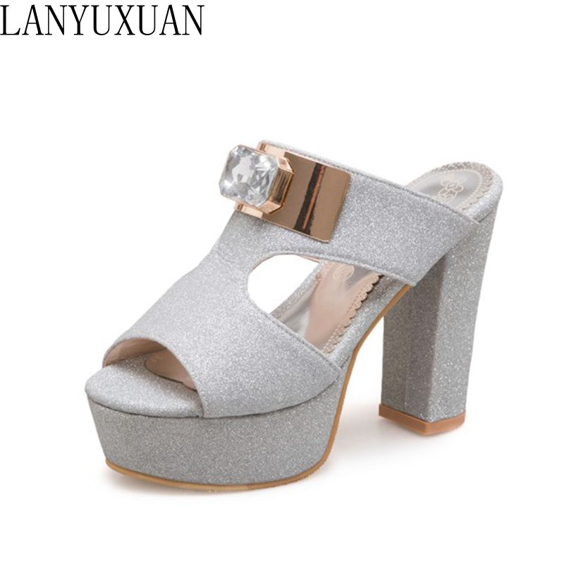 LANYUXUAN New Big size 34-50 women Summer Slippers Style Sandals Fashion Sexy Super High Heels Party Wedding Shoes Woman 3358 padegao 2017 new fashion high heels women sandals sexy decorated with metal chain wear convenient cool slippers shoes women shoe