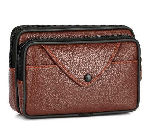 Erkekler fermuar Fanny paketi cep telefonu çanta kahverengi siyah PU deri bozuk para cüzdanı çanta kaliteli çanta rahat bel paketleri erkek cüzdan