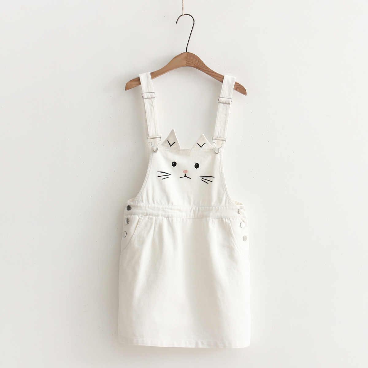 64d22827fe ... VEVEFHUANG Japanese Mori Girl Women Cute Cat Dress Kawaii Ear  Embroidery Denim Suspender Casual Overall Female ...