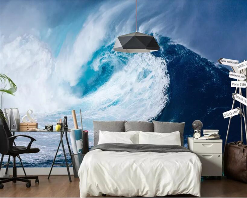 US $8 8 OFF Beibehang Wallpaper Dinding 3D 3D Mata Telanjang Gelombang Laut Laut Kamar Tidur Wallpaper Dinding Samping Tempat Tidur Latar Belakang
