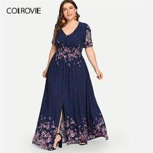 COLROVIE حجم كبير البحرية زهرة طباعة زر حتى بوهو ماكسي فستان المرأة 2019 الصيف عالية الخصر Vestido فساتين الشاطئ الإناث غير رسمية