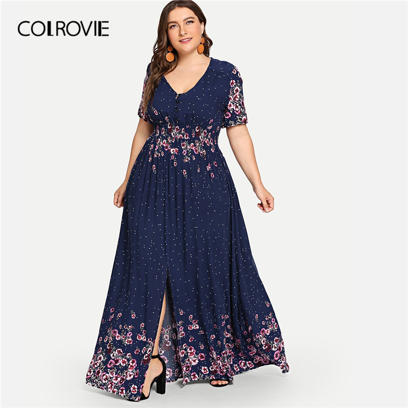 US $28.99 40% OFF|COLROVIE Plus Size Navy Flower Print Button Up Boho Maxi  Dress Women 2019 Summer High Waist Vestido Casual Female Beach Dresses-in  ...