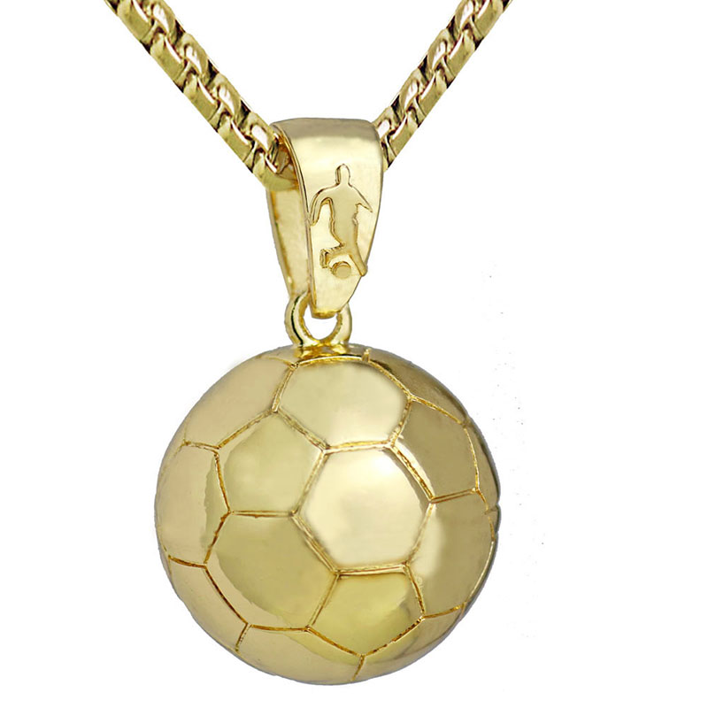 Football soccer pendants necklaces ball sports jewelry gold color football soccer pendants necklaces ball sports jewelry gold color stainless steel snake chain men bijoux 23in 10pcs in pendant necklaces from jewelry mozeypictures Image collections