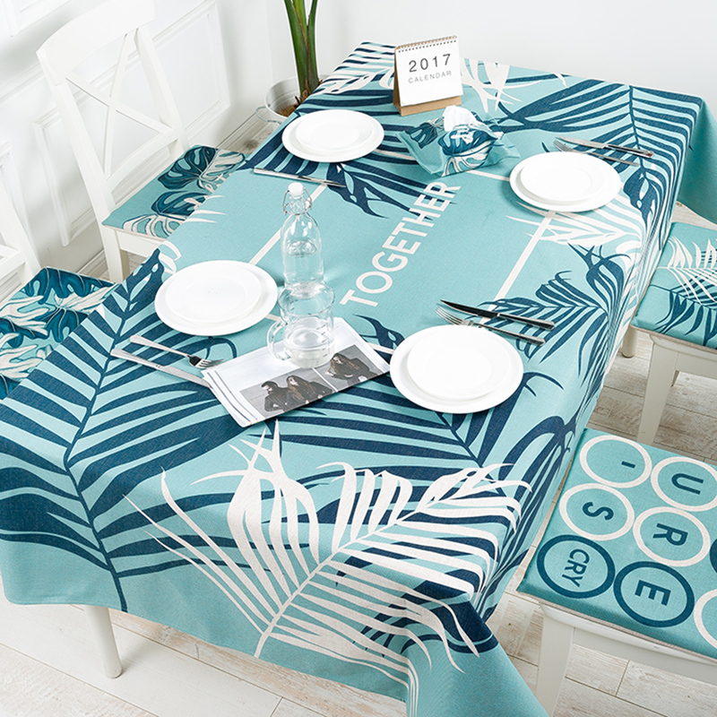 Pastoral Plants Linen Thick Pound Tablecloth Hotel Cafe Restaurant Living Wedding Villa Grass Room Square Table Cloth Cover
