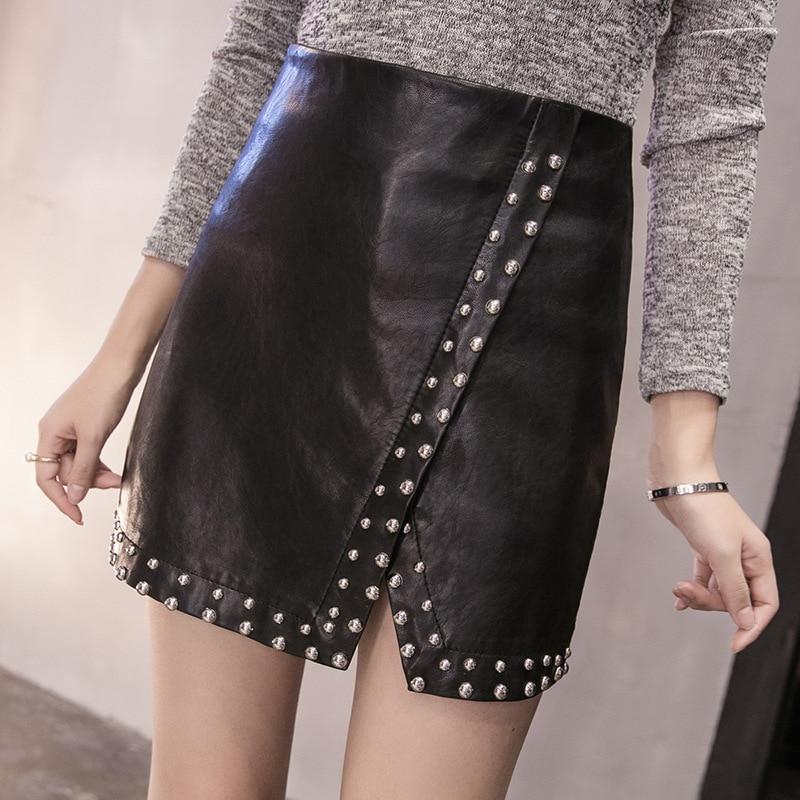 Newest Women Spring Autmn Retro Rivet Mini Pu Leather Skirts Overhip High Waist Beading Street Black Skirts Sexy Saias D307