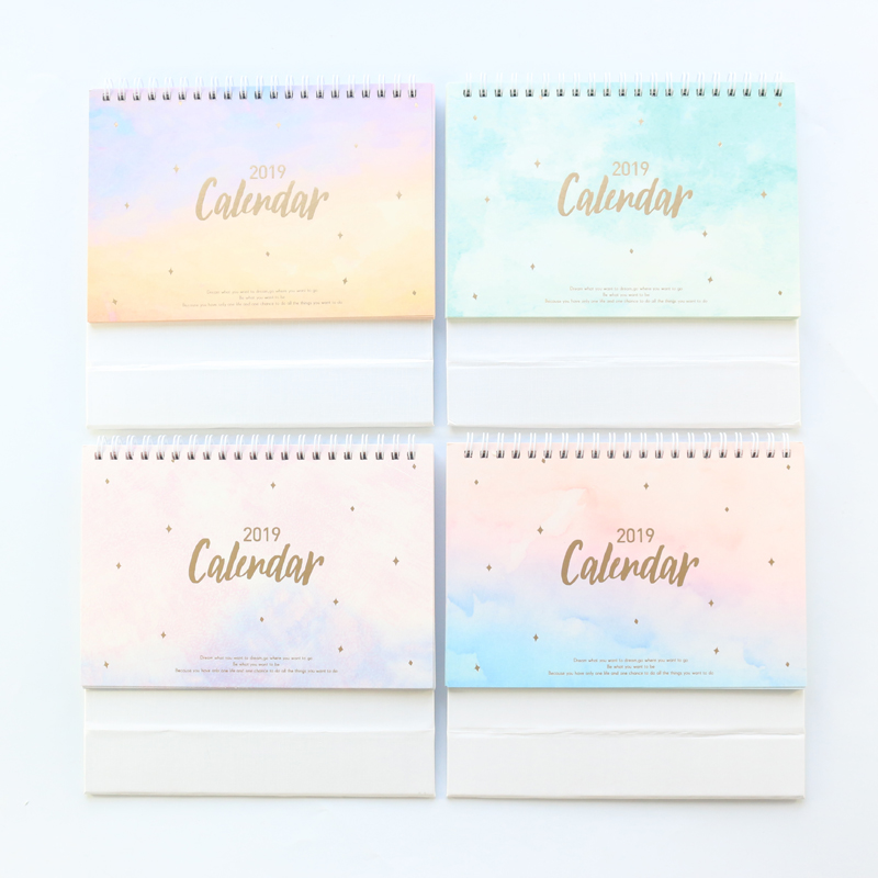 Domikee New 2019 year desk calendars book,candy office school desk calendar agenda planner stationery supplies,4 colors,14months new 2019 arrivals small black white table desk calendar personalised cube blocks birthdays diy board calendars office supplies