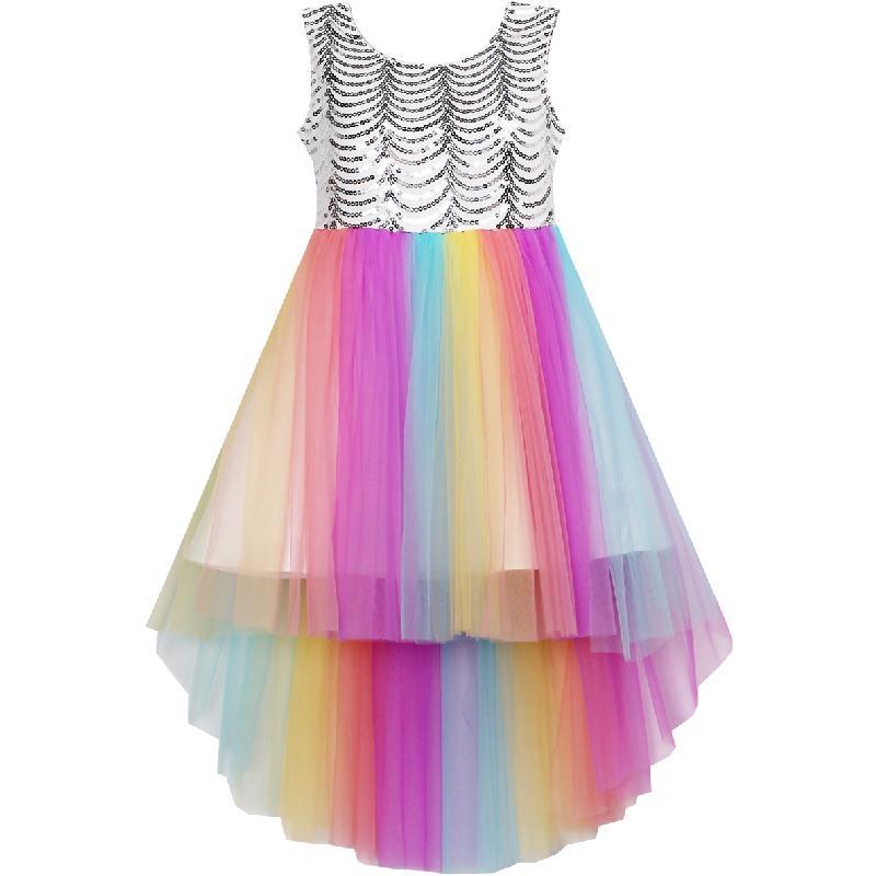Sunny Fashion Flower Girl Dress beige Sequined Tulle Hi-lo Teen Girls Wedding Party Dress Girls Princess Dresses Clothing 7-14 1