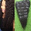 Brasileño Afro Rizado Rizado Del Pelo Humano Clip En las extensiones 100g Natural Negro Belleza Producto 9 unids Brazlian Rizado Clip Ins Cabello