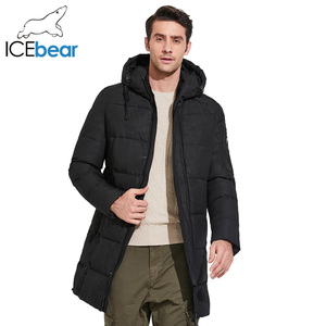 Image 4 - ICEbear 2019 Mens חורף מעיילי אמצע ארוך חלק מתכת רוכסן צווארון עומד פשוט נאה חורף מעיל גברים 17MD933D
