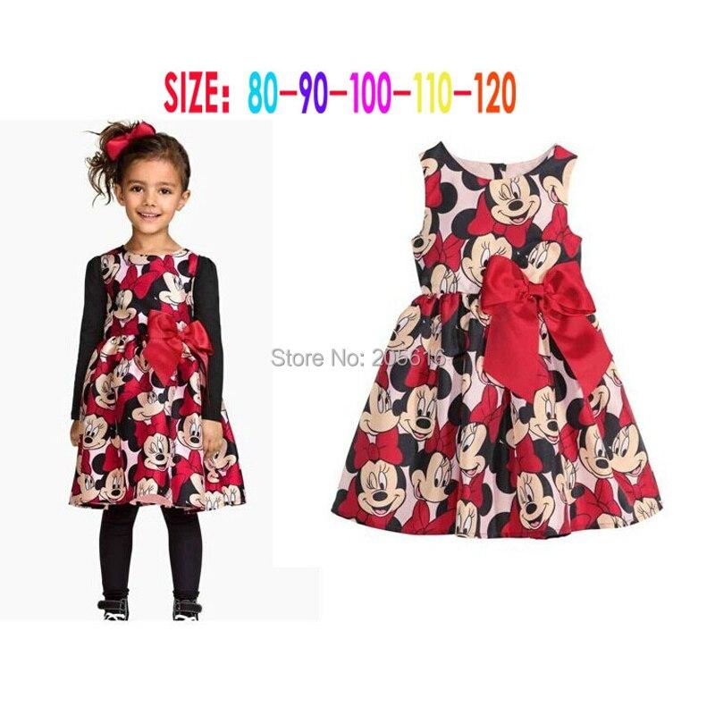 best loved 575a0 4ca40 US $5.6 5% di SCONTO|Acquisto libero 2016 Nuovo vestito da estate Minnie  delle ragazze del Vestito vestiti di stampa di puntino abito senza maniche  ...
