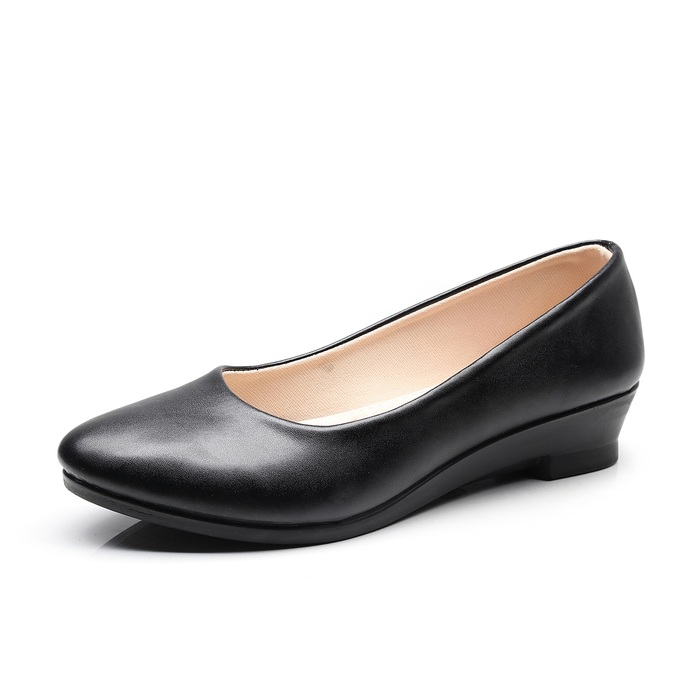 Women Ballet Shoes Black Women Wedges Casual PU Leather Shoes Office Work Boat Shoes Cloth Sweet Loafers Womens Classics Shoes