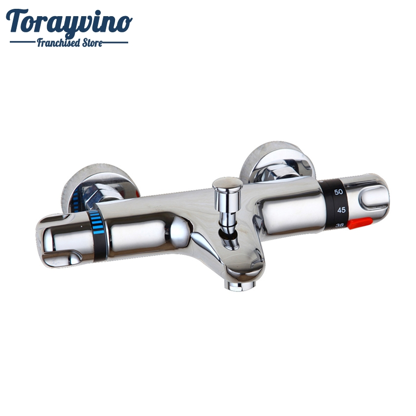 Torayvino Thermostatic Faucet Wall Mounted Double Handles Faucet Spout Filler+Diverter Chrome Bathtub  Shower Faucet Valve Mixer free shipping polished chrome finish new wall mounted waterfall bathroom bathtub handheld shower tap mixer faucet yt 5333