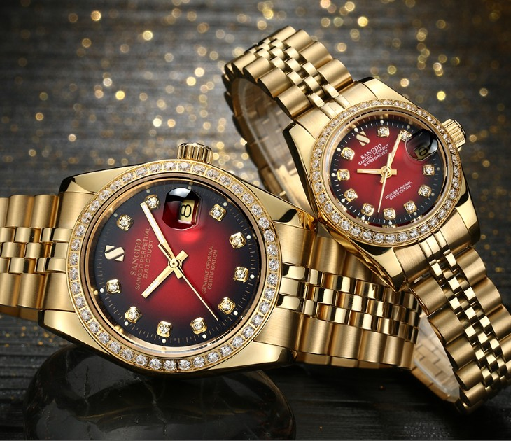 SANGDO Black- Red Dial Automatic Self-Wind Movement High Quality Luxury Couples Watch Plating 18KY Mechanical Watches 013S