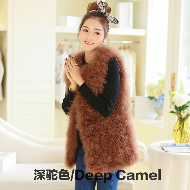Новое поступление Винтажный стиль настоящий вязаный жилет из меха страуса жилет из натурального меха - Цвет: deep camel