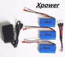 Hilbert 7.4 V 1500 mah Xpower li-po batterie et chargeur plug 3in1 câble pour DH9053 9101 mjx f45 9118 rc drone Hélicoptère pièces