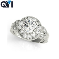 QYI Silver Rings 925 sterling jewelry Big Round Rings For Women Real Pure 1 ct Zircon Multi stone Engagement Ring