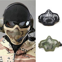 1 Piece Steel Wire Mesh Nerf Tactical Skull Half Face Mask CS N Strike Riding Protector