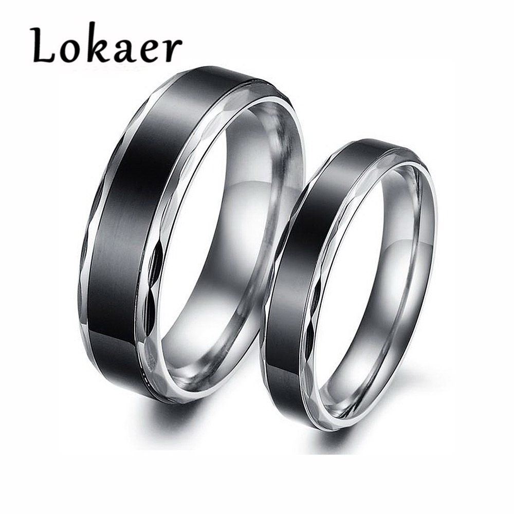 Lokaer Trendy Simple Titanium Ring High Quality Black Titanium Wedding  Rings Jewelry For Men And Women