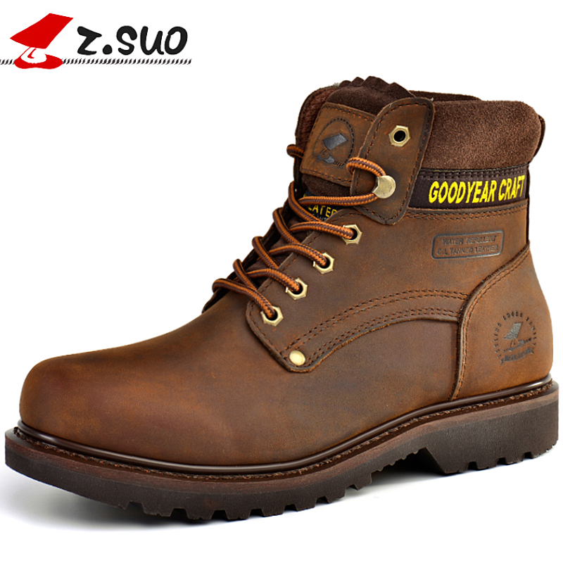 Z.Suo Fashion Winter men shoes Genuine Leather boots Lace-Up Breathable/Comfortable British Style Men's Casual Martin Boots 2017 new spring british retro men shoes breathable sneaker fashion boots men casual shoes handmade fashion comfortable breathabl