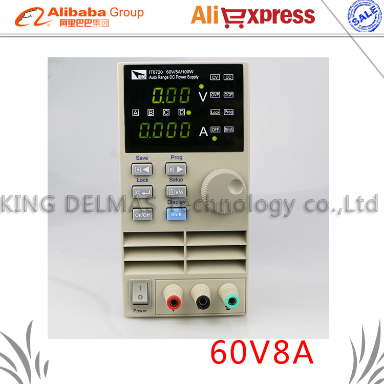 Freeshipping IT6721 high precision Adjustable Digital DC Power Supply 10mV/1mA 60V/8A for scientific research service Laboratory kuaiqu high precision adjustable digital dc power supply 60v 5a for for mobile phone repair laboratory equipment maintenance