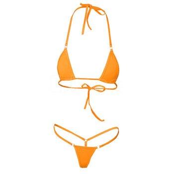 2020 NEW Sexy Women Micro Thong Underwear G-String Bra Mini Brazilian Bikini Set Swimwear Sleepwear 4