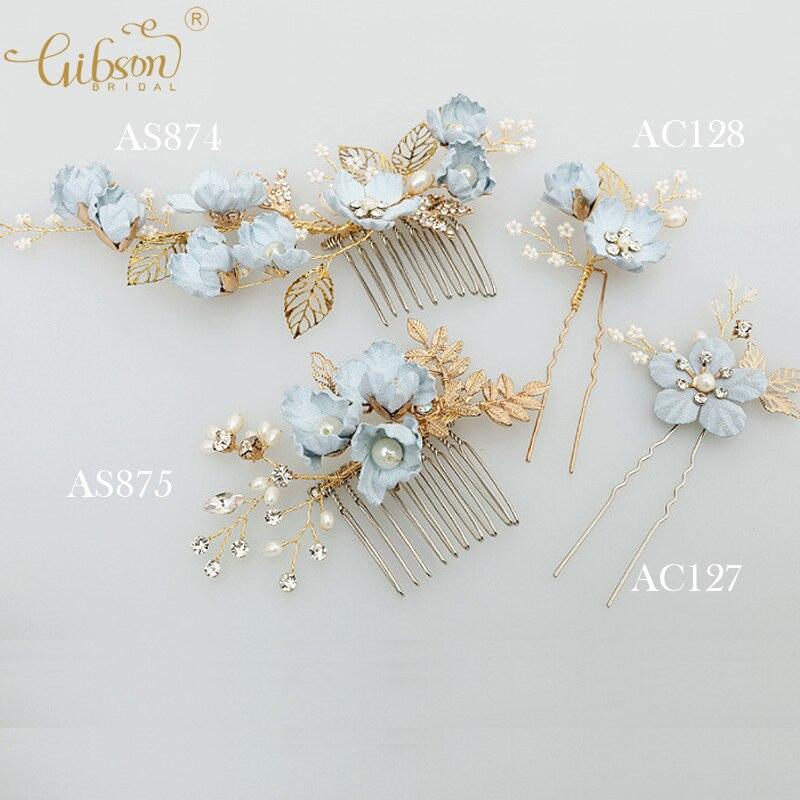 Blau Handgemachte Blume Hochzeit Haare Kammen Braut Haarnadel Seite