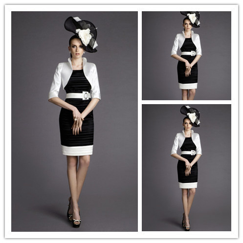 Simple White And Black Taffeta Mother Of The Bride Dress Free ...