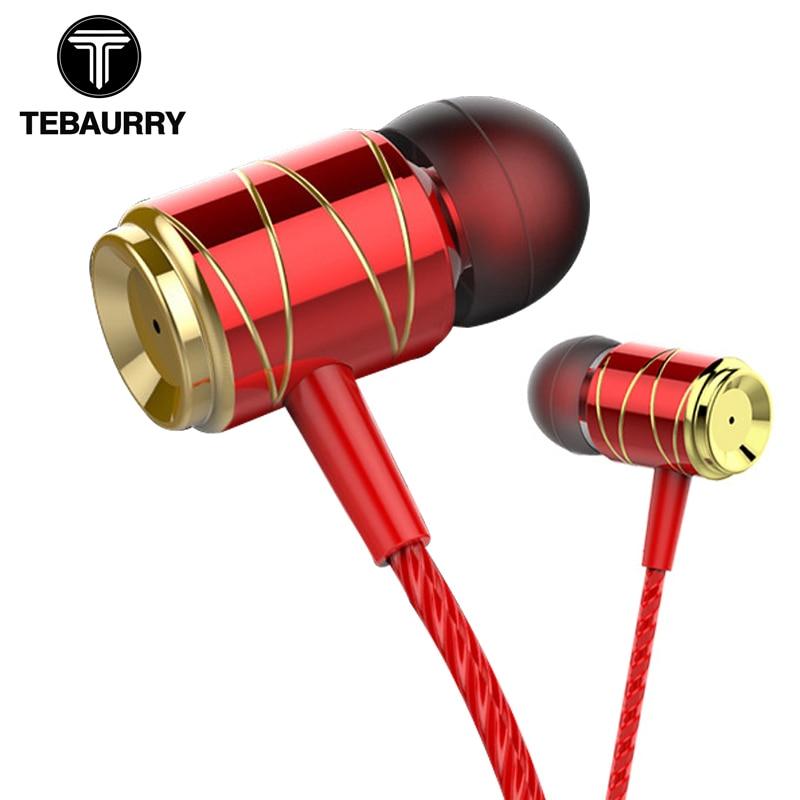 062a7901cab TEBAURRY Metal Earphones In-Ear Bass Headset For Phone Audifonos DJ Music  Earphone With Microphone Fone De Ouvido HIFI Headset