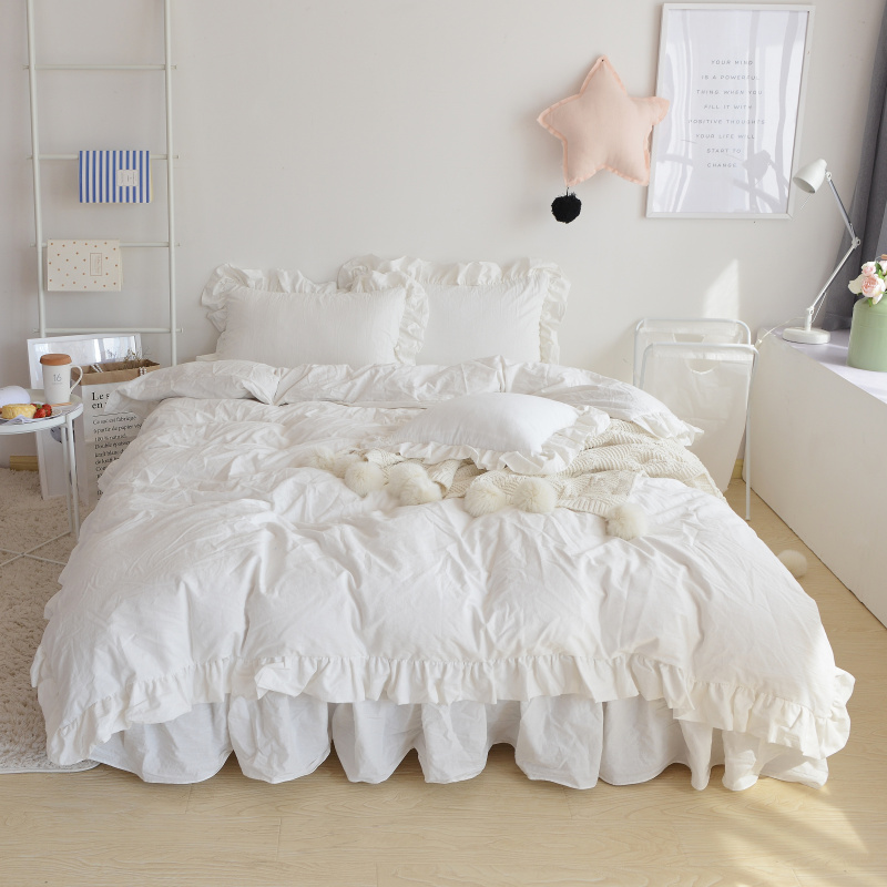 4/3Pcs White Pink color korean style Bedding set king queen twin size double single girls bed set duvet cover bedskirt set 364/3Pcs White Pink color korean style Bedding set king queen twin size double single girls bed set duvet cover bedskirt set 36