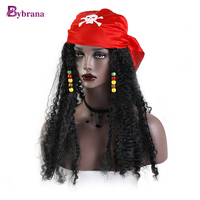 Bybrana Long Black Curly Wig Synthetic Hair Halloween Costumes Party Afro Hairstyle High Temperature Fiber Cosplay