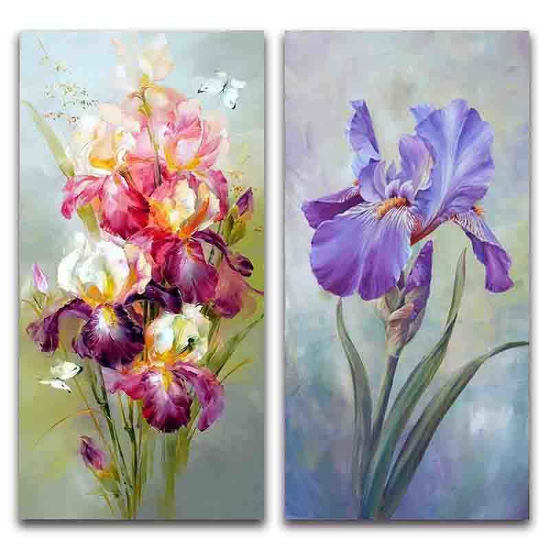 Peinture de diamant 5D à mosaïque de fleurs violettes, broderie complète de perles carrées ou rondes, points de croix, à faire soi-même, décoration d'intérieur, cadeaux