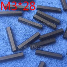 M3*28 black 1 pcs Nylon 28mm Hex Female-Female Standoff Spacer Threaded Hexagonal Spacer Plastic Standoff Spacer high-quality цена