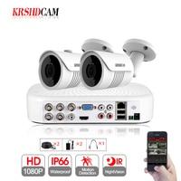 KRSHDCAM 4CH XVR Security CCTV System 30M IR 2PCS 1080P CCTV Camera Outdoor Vandalproof IP66 Camera