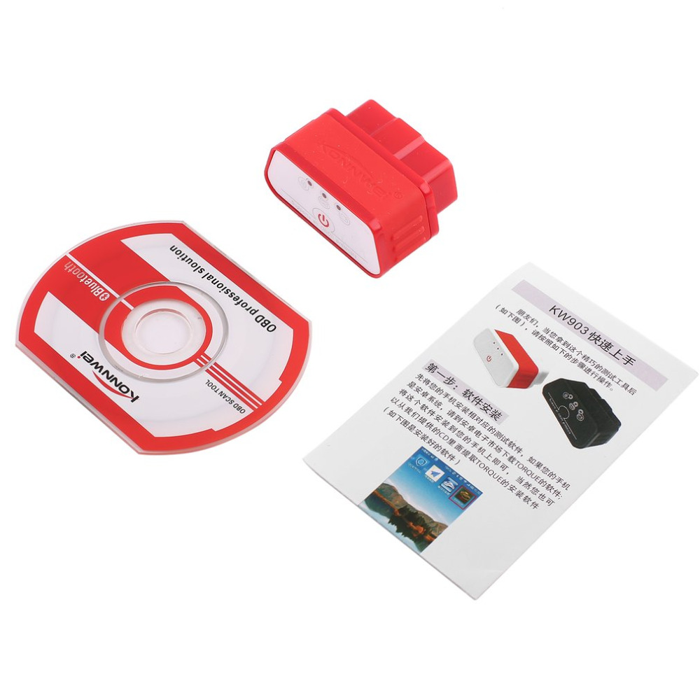 Konnwei KW903 ELM327 Bluetooth ODB2 Auto Car Diagnostic Scanner Detector Tool Code Reader OBDII Auto Scanner