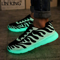 LIN KING Lace Up Men Women Fluorescence Light Shoes Breathable Low Top Luminous Casaul No LED Glowing Outdoor Walking Shoes