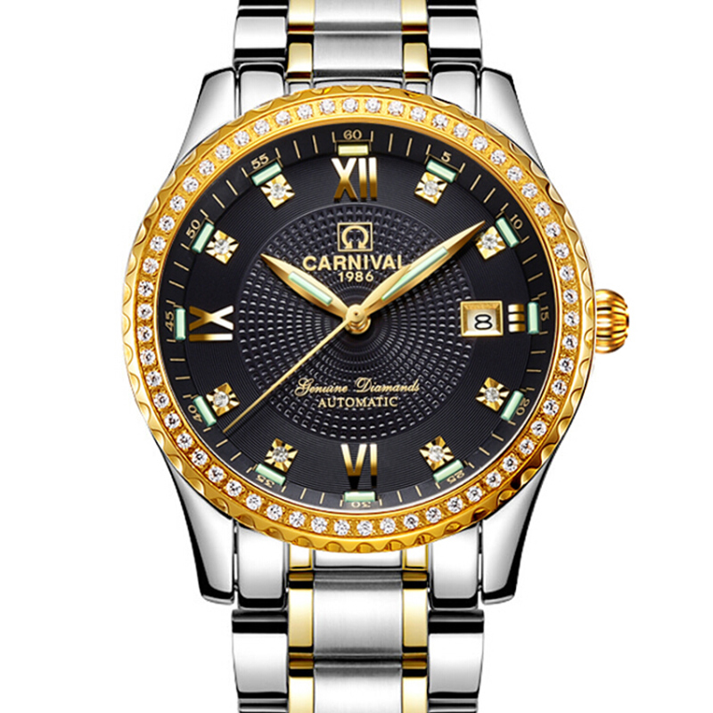 Luxury Carnival Brand Mechanical Watch Men Diamond Tritium Luminescence Sapphire Japan Miyota 25 Jewels Clock Stainless Steel blue indian luxury headpieces king queen unisex cosplay costumes diamond feather headdress for women and men peagents carnival