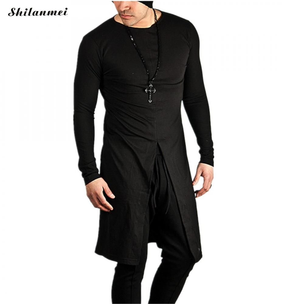 2017 fashion streetwear t shirt men extend swag side cut hip hop long t shirt Super Longline Long Sleeve autumn T-Shirt
