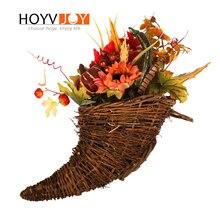 HOYVJOY Horn Dired Flowers Punpkin Sunflowers Decorations 45cm Big Artificial For Door Decor Home Supplies
