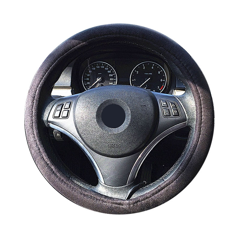 Car electric heated steering-wheel cover heated steering wheel cover winter heated steering wheel suede fabric 38cm 12V