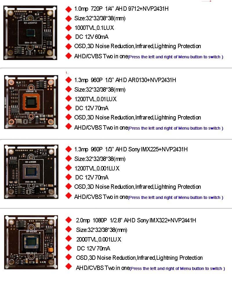 720P 1.0MP,960P 1.3MP,1080P 2.0MP AHD CMOS Light Sensor De movimento Estacionamento