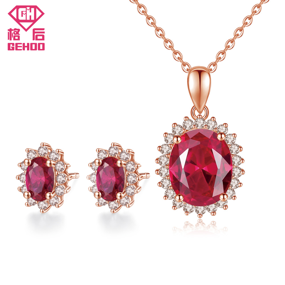 GEHOO Classic Women Earrings & Necklace Jewelry Set Pretty Ruby Oval Gemstone 925 Sterling Silver Zircon Pendant Wedding Party a suit of chic faux ruby zircon geometric necklace and earrings for women