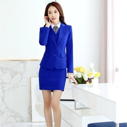2018 Fall Winter Fashion Blue Ladies Blazers With Tops And Skirt Blazers & Jackets Sets Business Women Uniform Designs Styles