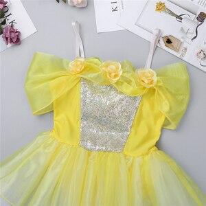 Image 4 - IIXPIN Girls ballet dress ballerina dance clothing dancewear Off Shoulder Design 3D Flowers Gymnastics Leotard Ballet Tutu Dress