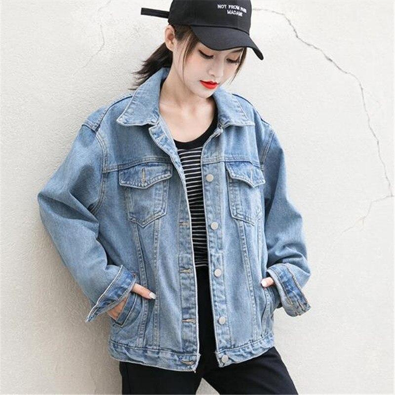 Denim Court Blue Couleur Nouveau Survêtement Étudiant Lâche Femme Manteau Filles Printemps Veste Solide 2019 Femmes Automne Cowboy Jeans Tops q70qU