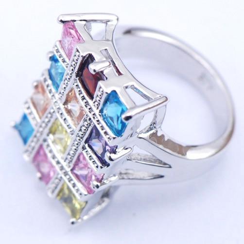 Morganite Mavi Garnet Çəhrayı Kristal Zirkon Qadın 925 Sterling - Moda zərgərlik - Fotoqrafiya 2