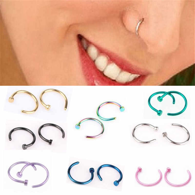 Ahmed Medical Titanium Fake Nose Labret Lip Ring Silver Gold Body Clip Hoop for Women Septum Piercing Neus Pircing Jewelry Gifts